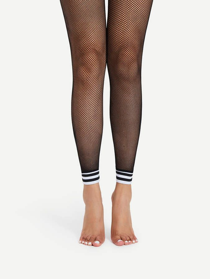 3203df8ff40ee Striped Trim Footless Fishnet Tights #Pattern#Type#Striped | Hosiery ...