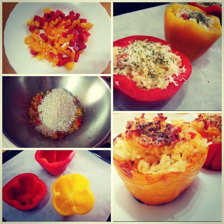 Preparing stuffed peppers... http://www.lovecooking.it/risotti-e-zuppe/peperoni-ripieni-di-riso/