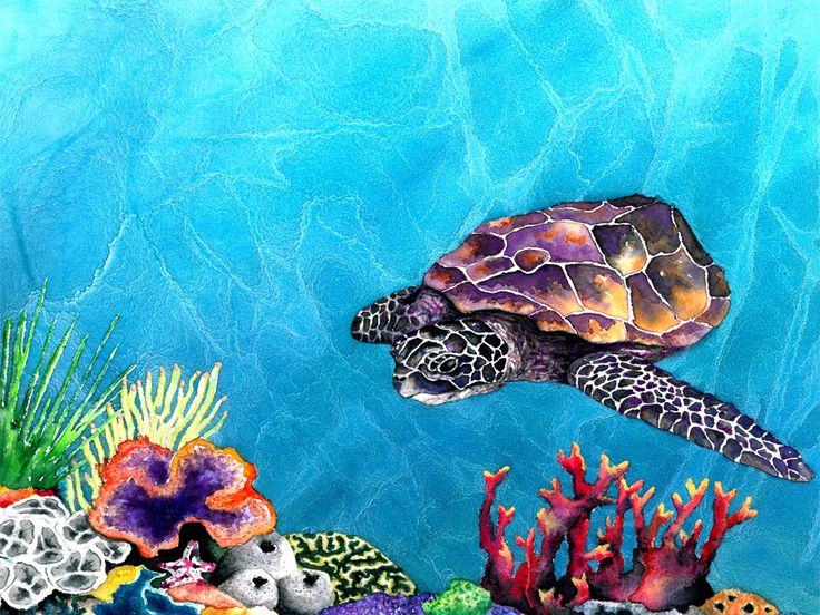 Art Print - Sea Turtle - Ocean Wildlife - Watercolor Painting