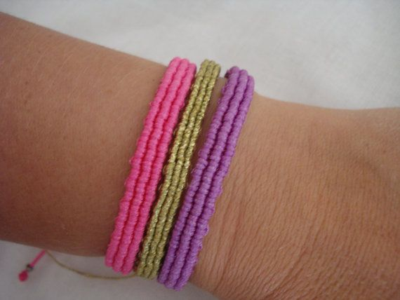 Macrame bangle Minimalist cuff Friendship bracelet Him by Poppyg