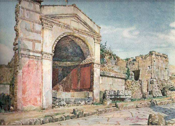 Water colour painting by Luigi Bazzani. It depicts tombs on the Via dei Sepolcri. Pompeii.