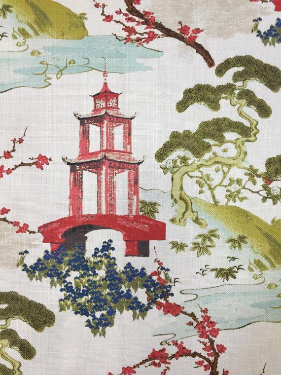 Pagoda Fabric - Zen - Asian Upholstery Fabric - Modern Asian Fabric - Pillow Cover by ShopMyFabrics on Etsy https://www.etsy.com/listing/212809569/pagoda-fabric-zen-asian-upholstery
