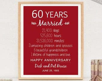 Gift Ideas 60th Wedding Anniversary Grandparents : 1000+ ideas about 60th Anniversary on Pinterest 60 Anniversary, 60th ...