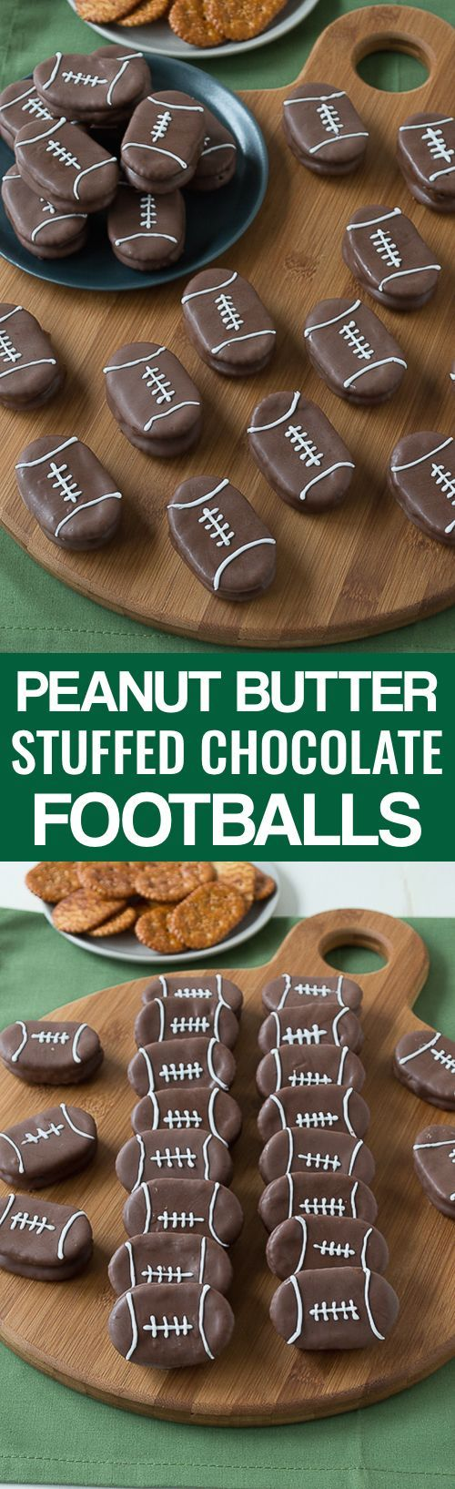 Peanut Butter Stuffed Chocolate Footballs - the perfect football treat for game day!