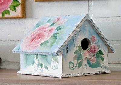 Shabby Chic Bird House. Donna Dewberry's beautiful roses on a pretty, shabby chic birdhouse. Created using FolkArt acrylic paints
