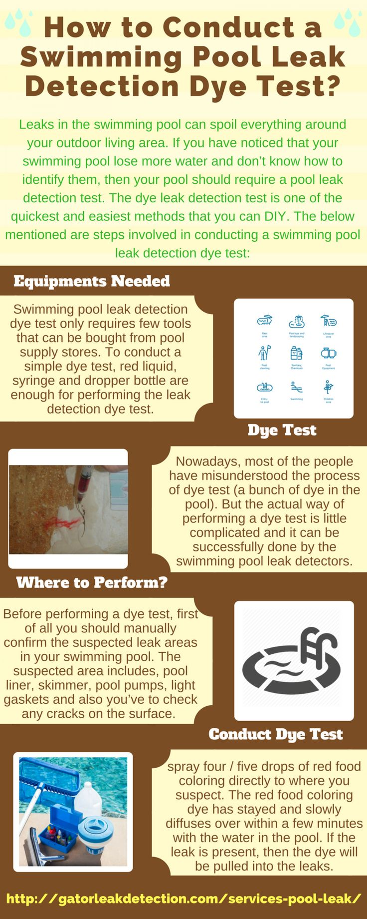 How to conduct a swimming pool leak detection dye test