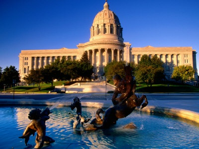 Jefferson City, Missouri Fountain in Front of the Capitol Building,