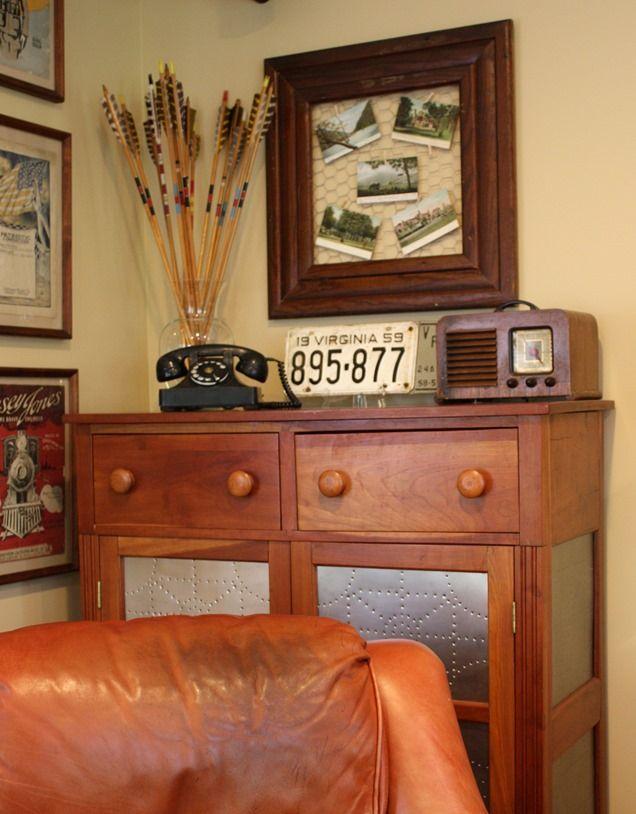 Antique display featuring antique post cards. virginiasweetpea.com