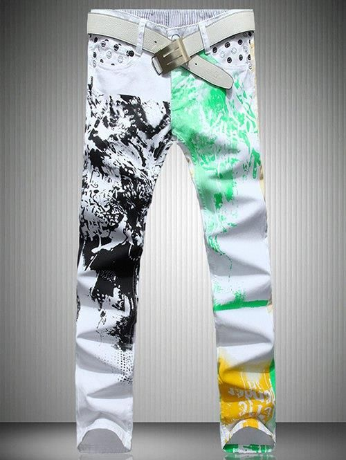 White Color Printed Straight Leg Jeans For Men