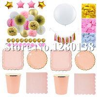 """Rose Or Papier Vaisselle Plaques Tasses Serviettes Bachelorette Party Decor Papier Pompons Papier Confettis Guirlande 36 """"Ballon"""