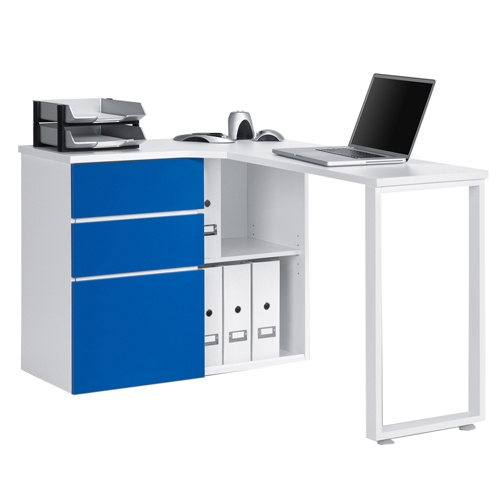 Blue And White Office: Penninsular White And Blue Corner Computer Desk