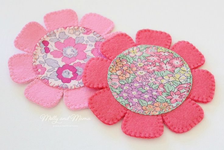 Sew a Felt Flower Coaster - a free felt and fabric tutorial from Molly and Mama