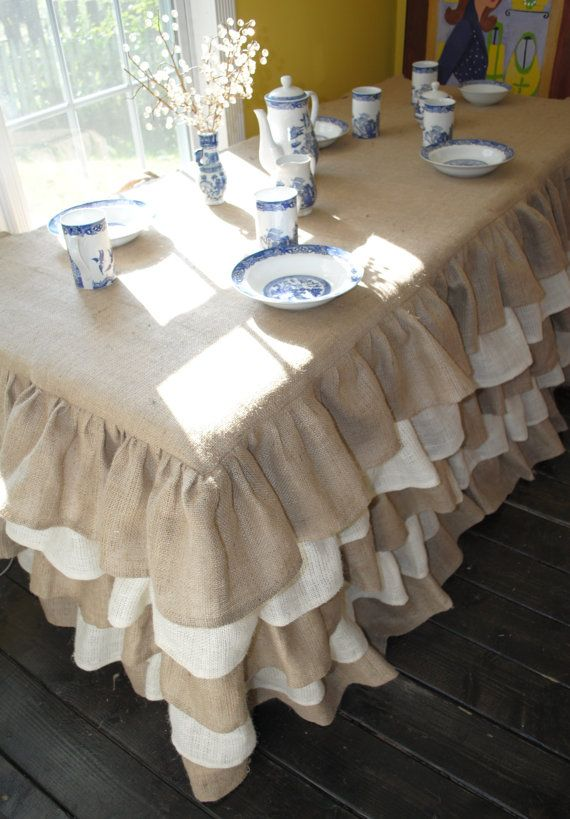 Natural and Cream Burlap Ruffled Tablecloth. $250.00, via Etsy.