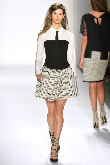 crepe strapless top + our signature charlie tie blouse + tucker faille skirt
