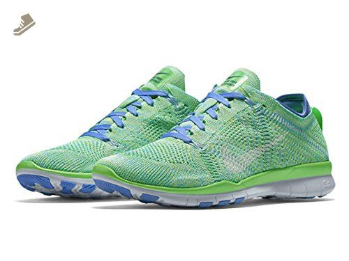 Nike Women's Wmns Free TR Flyknit, VOLTAGE GREEN/WHITE-CHALK BLUE-DEEP