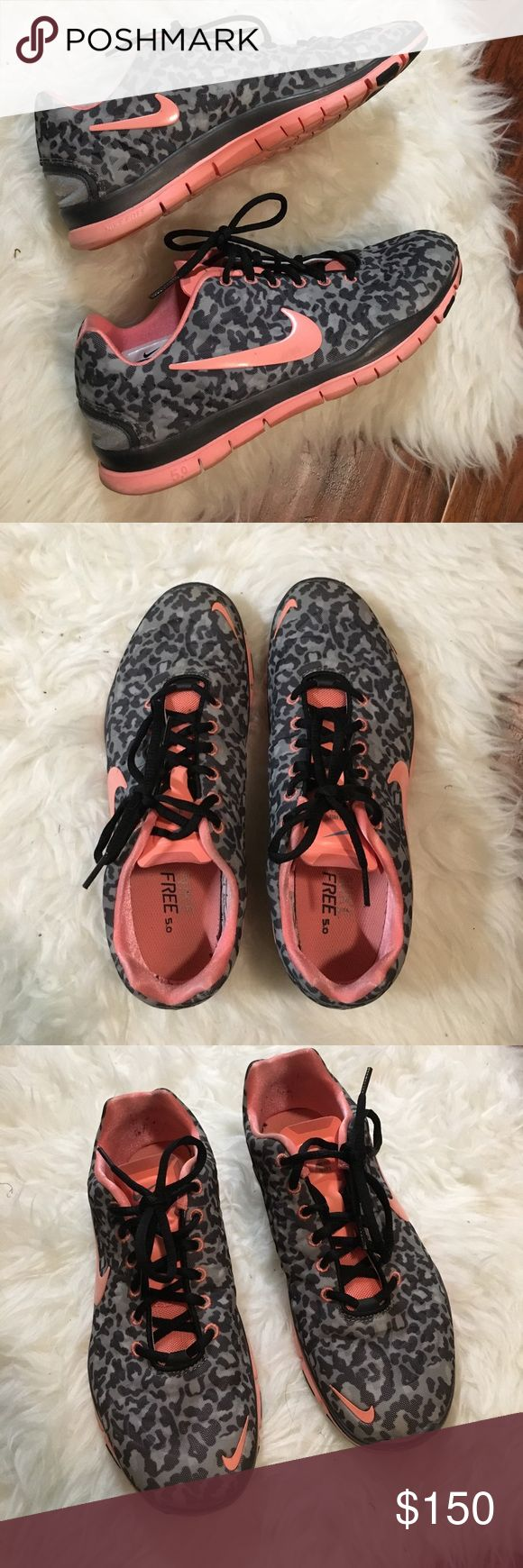 ❗️RARE!!! Nike Free 5.0 Grey Pink Leopard Print❗️ Super rare color combo. Great condition. US size 9 Nike Shoes Sneakers
