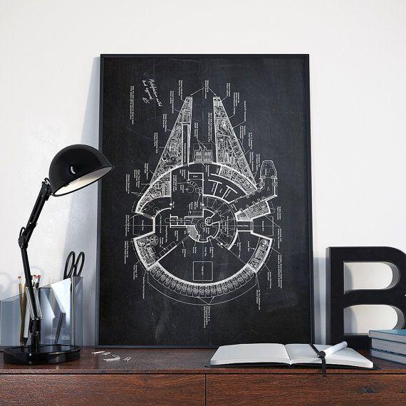 Millennium Falcon Patent Print, Star Wars Print, Millennium Falcon, Blueprint…