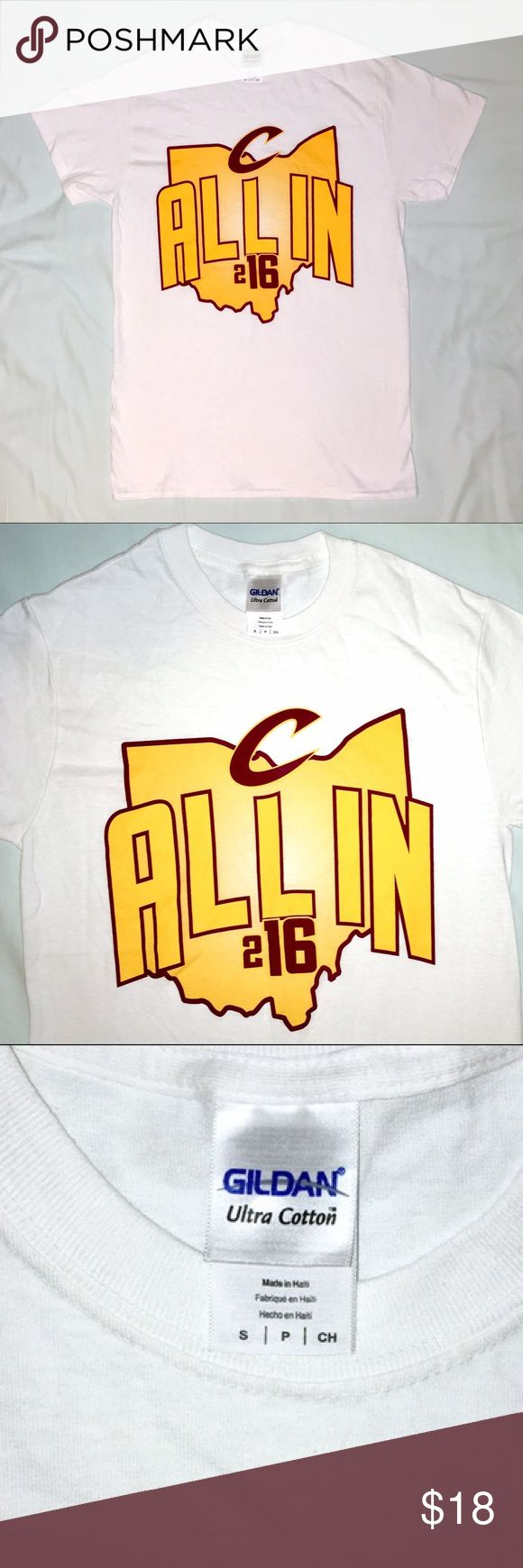 NWOT 2016 Cleveland Cavaliers T-shirt, Adult Small NWOT 2016 Cleveland Cavaliers T-shirt, Adult Size Small.  Brand new without tags.  Info: •2016 Cleveland Cavaliers  •White t-shirt with printing in the front in the Cavs colors (wine & gold).  T-shirt has the state of Ohio in the background and the shirt says All in 216 with the Cavs C logo.  T-shirt is plain white on the back. •Adult Size Small •Printed on a Gildan Ultra Cotton tee •Made of 100% cotton Cleveland Cavaliers, Cavs, Gildan…