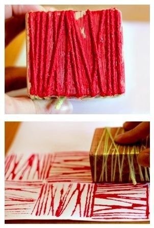 Cool Pinterest project! Wrap a block of wood in yarn and use it as a stamp.