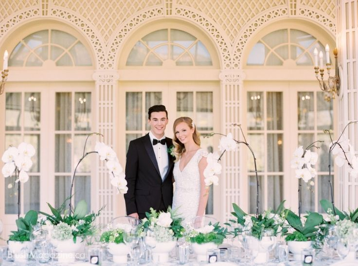 Stylized Wedding Shoot at Fairmont Banff Springs. Bride & Groom, Head Table Orchids