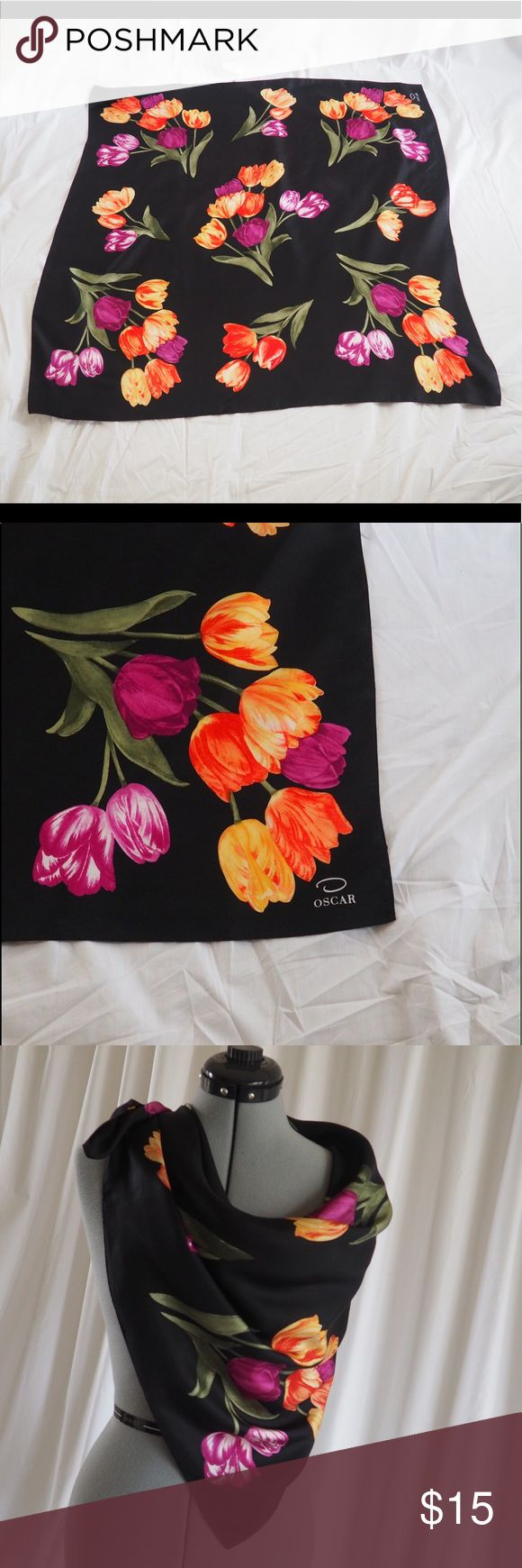Oscar Tulip Scarf You can enjoy this large colorful scarf in many ways - head scarf, festival triangle top, traditional neck scarf, belt, or a triangle topper over your skirt.  On-trend dark floral. No tags. Oscar de la Renta Accessories Scarves & Wraps