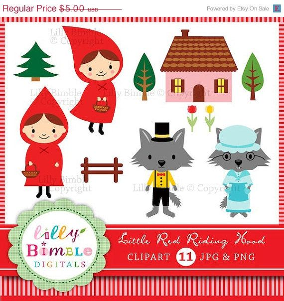 50% off Little Red Riding Hood clipart with wolf by LillyBimble (Craft Supplies & Tools, Scrapbooking Supplies, Scrapbooking Clip Art, little red riding, red riding hood, little, red, wolf, fairytale, clipart, clip art, grandma, cute, invites, storybook, digital download)