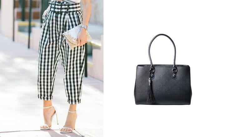 Gingham Pants Jennifer 13 Inch Laptop Bag for Women Black