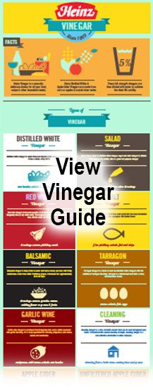 Check out this Vinegar Guide for tips, recipes and other helpful information about Heinz® Vinegar