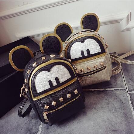 Mickey backpack Fashion new bags High quality PU leather Women bag Cute Minnie Big Ear Parent-child shoulder Female bag