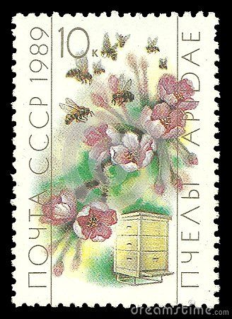 USSR - stamp printed 1989, Memorable multicolor edition offset printing, Topic Fauna - Flowers, Hive and Bees, Series Beekeeping, Honeybee, Apis mellifica