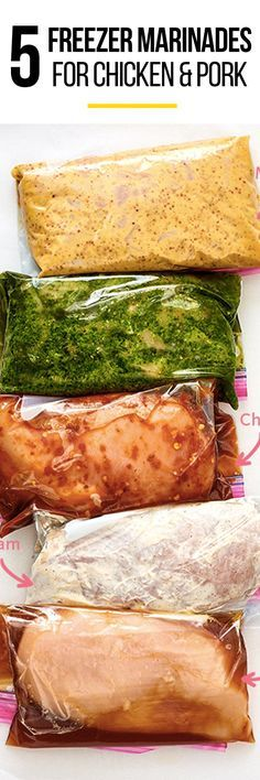5 SMART Make Ahead Freezer Marinades for Chicken or Pork. Freezer meals are perfect for new moms, busy families, or anyone who's just trying to eat more healthy. Bake, broil, steam, or use your slow cooker to cook these chicken breasts or thighs to perfection. A Crock Pot works well too, naturally!