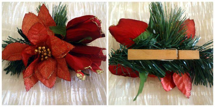 Clip para recoger las cortinas de la cocina. Simple! Pascuas, rosas, pino....etc que puedas reciclar de años anteriores, pégalo con silicón a un gancho de madera para colgar ropa!