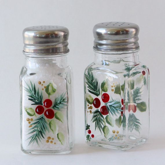 Hand Painted Christmas Salt and Pepper Shakers.
