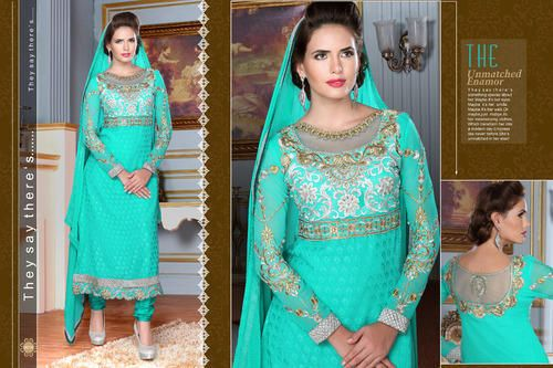 Ethnic Party Wear  Georgette Brasso Semi-Stitched straight cut Sea Green Salwar suit with heavy thread embroidery. Comes with Santoon Inner And Bottom and Chiffon dupatta.