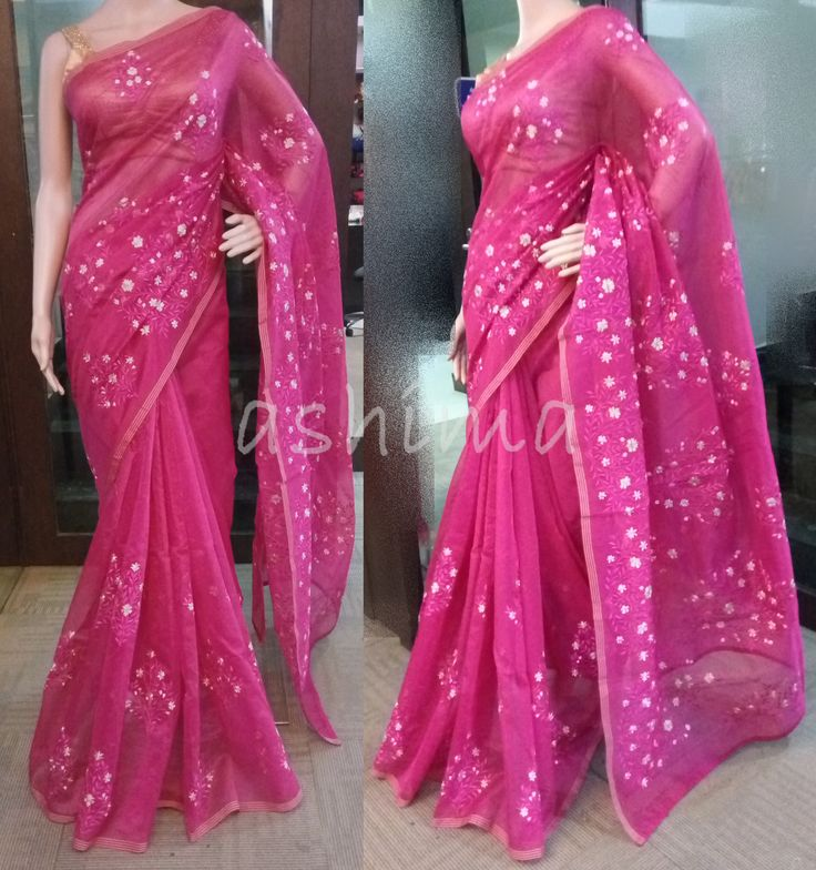 Code:0607162 - Supernet saree With embroidery Price INR:1850/- Reserved by a customer