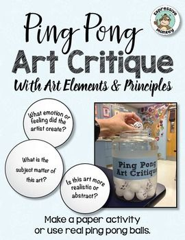 Art Critique with ping pong balls: list of 32 questions that can be used when talking about art.