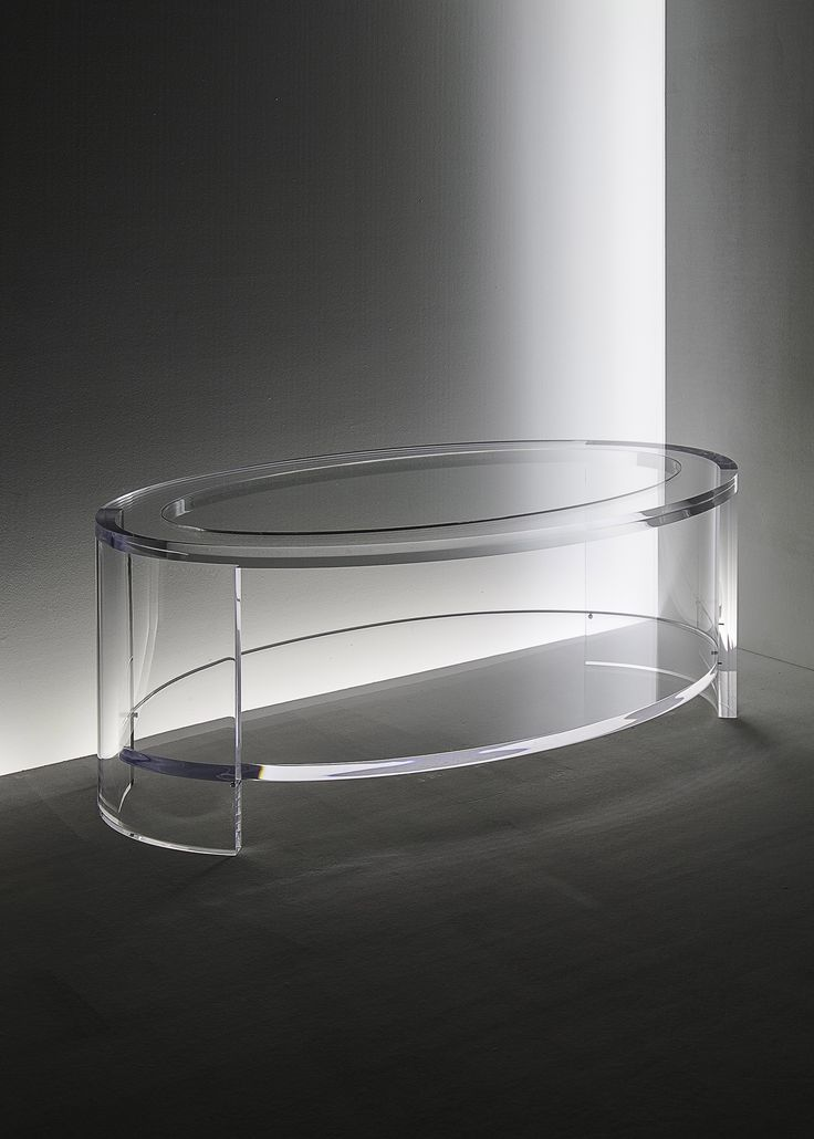 Acrylic Eclipse Oval Coffee Table In Acrylic And Glass