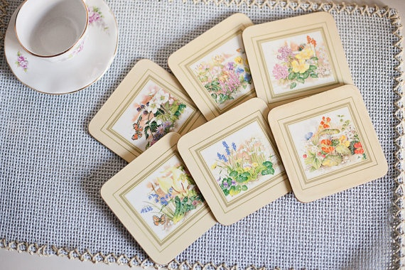 Vintage coasters with flowers ornaments