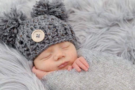 Double Pom Pom Baby Hat, Baby Pom Pom Beanie, Crochet Pom Pom Hat, Newborn Photography Prop, Baby Photo Prop