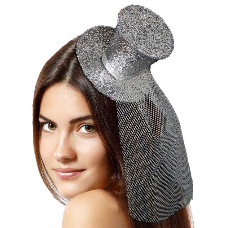 Tiara hoedje zilver glitter.