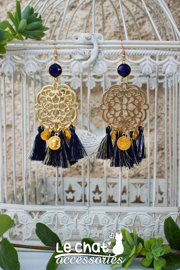 Excited to share the latest addition to my #etsy shop: Gold floral bohemian earrings with blue tassels and coins http://etsy.me/2ACcE2M #jewelry #earrings #blue #floral #boho #darkblue #bohemianearrings #bohostyle #coins