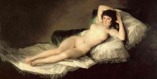 """""""La maja desnuda"""", Francisco de Goya. Anys 1790-1800."""