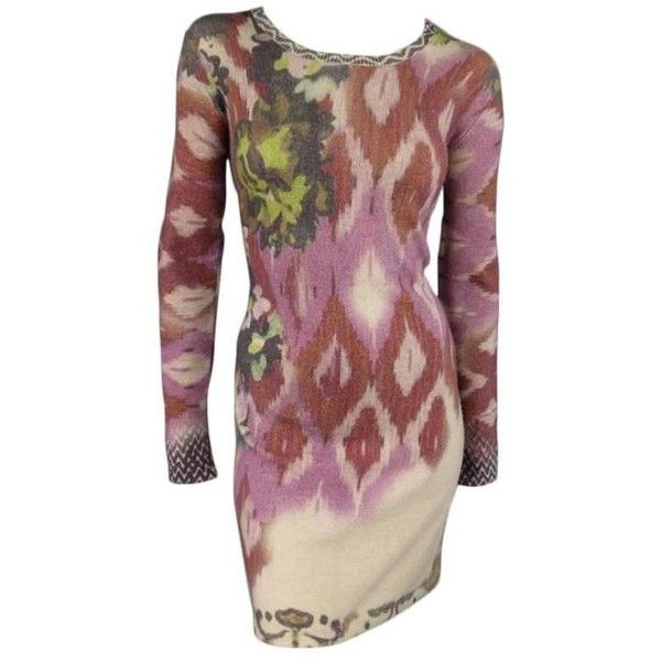 Preowned Etro 4 Beige Red Pink & Green Floral Ikat Print Wool /... ($395) ❤ liked on Polyvore featuring dresses, red, long sleeve dress, red dress, pink long sleeve dress, long-sleeve maxi dress and green floral dress