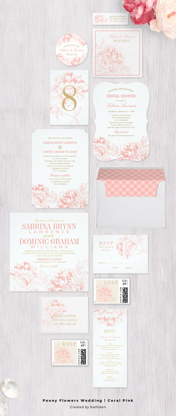 Romantic floral peony wedding invitation set collection in coral peach / pink, white and gold color scheme.