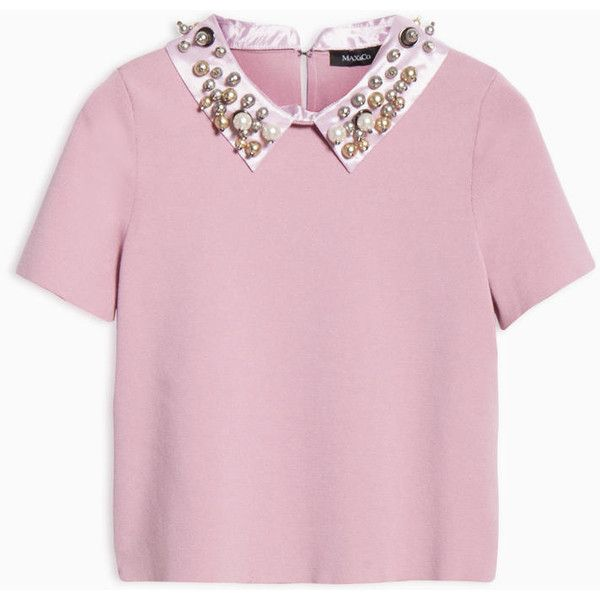 MAX&Co. Slim jumper with jewelled collar (3.250 ARS) ❤ liked on Polyvore featuring tops, sweaters, shirts, pink, jumper top, short sleeve tops, back to the top, round neck sweater and slimming tops