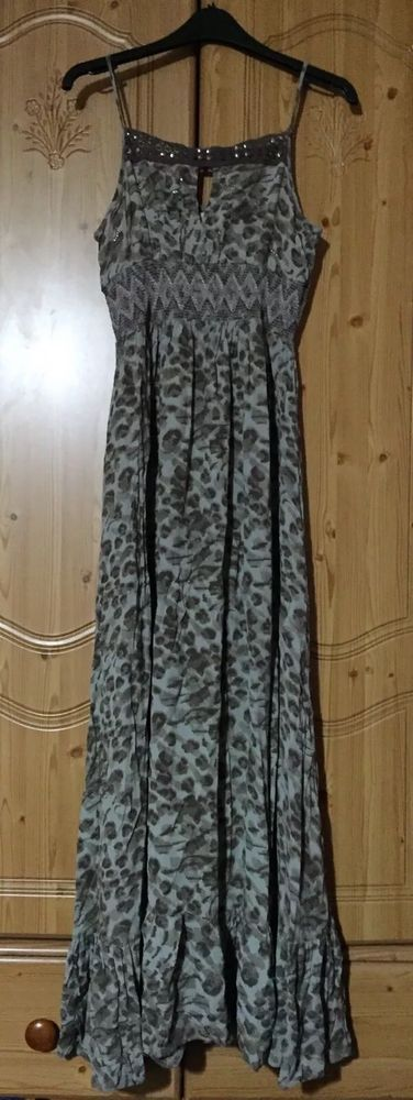 RIVER ISLAND animal print maxi dress size 10. Beautiful embellishments on the chest, crocheted part at the top, embroidery on the elastic part. Flowy and stretchy, with a ruffle layer at the bottom. | eBay!