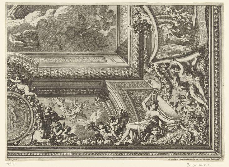 Jean Lepautre   Plafond met rechthoekige voorstelling in het midden, Jean Lepautre, in or after 1661 - before 1666   Met varianten voor twee kwart gedeeltes van de rand. Blad 2 uit serie van 6 bladen met ontwerpen voor plafonds, sommige met varianten voor de randen. Uit tweede editie.