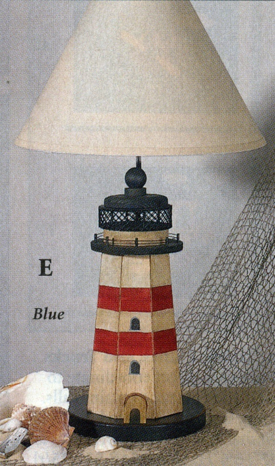 Lighthouse Lamp with Red Stripes
