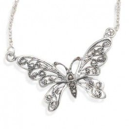 "16"" Oxidized Marcasite Butterfly Necklace"