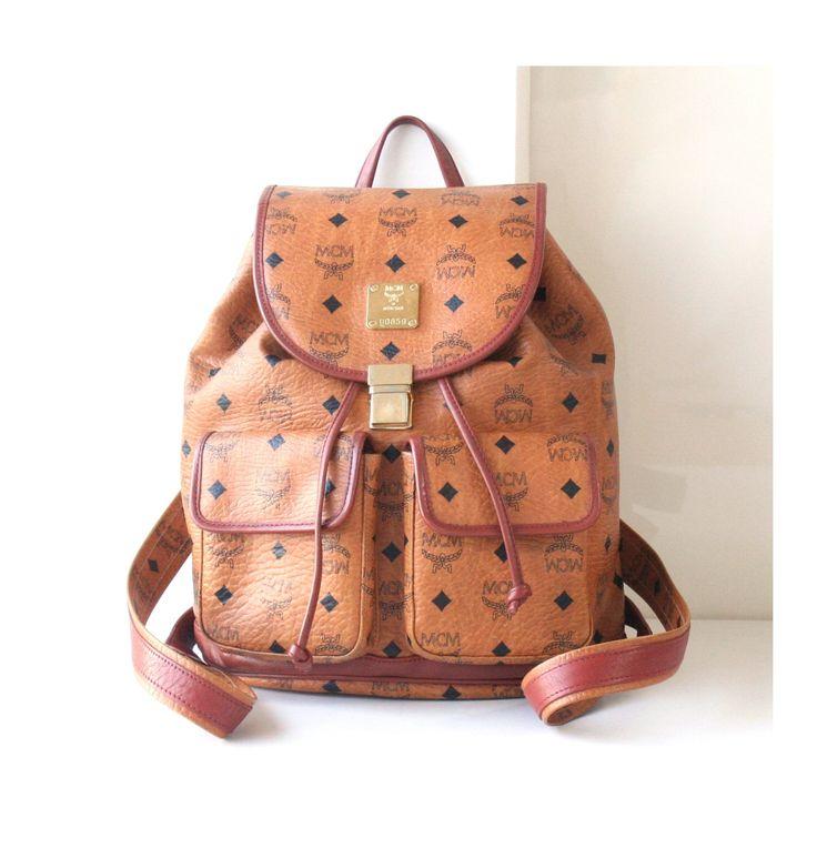 #Vintage #MCM #Backpack #Visetos #Cognac #Brown #Large #Monogram #Bag by #hfvin